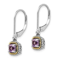 Sterling Silver With 14k Amethyst Earrings