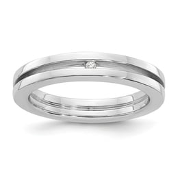 Silver Grooved Diamond Ring
