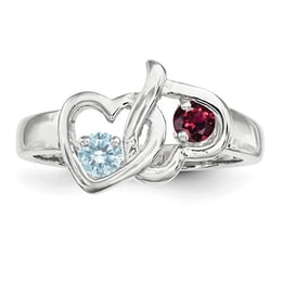 Two Heart Silver Mothers Ring
